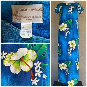 """🌺""""Royal Hawaiian"""" Vintage Barkcloth Muumuu Dress"""